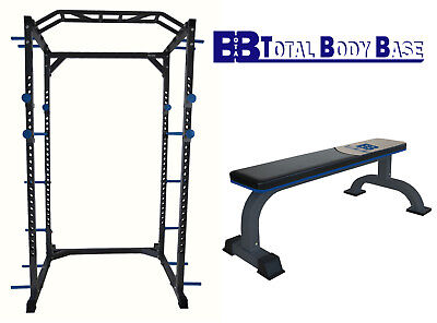 Total Body Base Power Rack Squat Cage Stand with Heavy Duty Flat Bench Home Gym