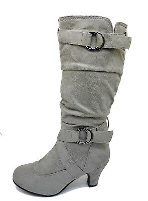 Ladies Grey Zip-Up Biker Slouch Ruched Tall Knee Calf Low Heel Boots Shoes 4-10