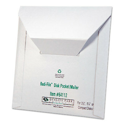 Quality Park Redi File Disk Pocket Mailer 6 x 5 7/8 Recycled White 10/Pack 64112