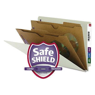 Smead Pressboard End Tab Classification Folder Pockets Legal Six-Section 10/Box