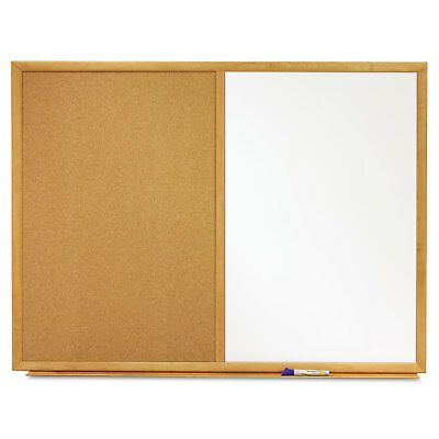 Quartet Bulletin/Dry-Erase Board Melamine/Cork 36 x 24 White/Brown Oak Finish