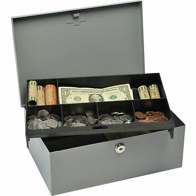 "Mmf Industries Cash Box W/Lock Deluxe 11-1/4""x7-1/2""x4-3/8"" Gray 221618201"