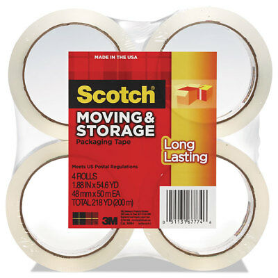 """Scotch Moving & Storage Tape 1.88"""" x 54.6yds 3"""" Core Clear 4 Rolls/Pack 36504"""