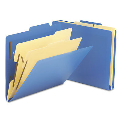 "Smead 2-1/2"" Expansion Heavy-Duty Poly Classification Folders Letter Blue 10/Box"