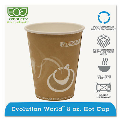 Eco-Products Evolution World 24% Recycled Content Hot Cups - 8oz. 50/PK 20 PK/CT
