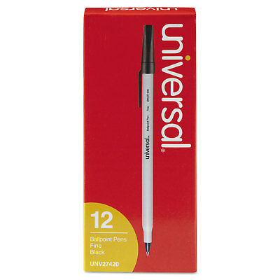 UNIVERSAL Economy Ballpoint Stick Oil-Based Pen Black Ink Fine Dozen 27420