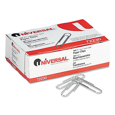 UNIVERSAL Nonskid Paper Clips Wire No. 1 Silver 1000/Pack 72230
