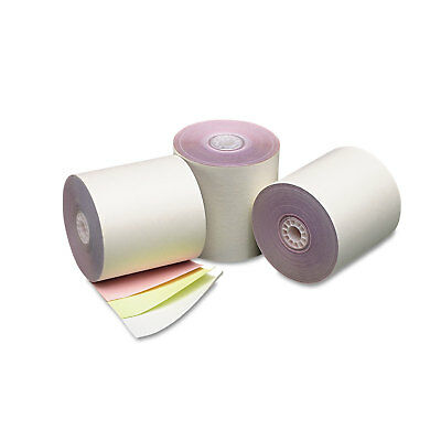 """Pm Company Three Ply Cash Register/POS Rolls 3"""" x 70 ft. White/Canary/Pink 50"""