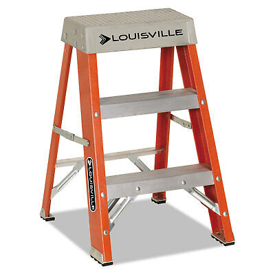 "Louisville Fiberglass Heavy Duty Step Ladder 28 3/8"" 2-Step Orange FS1502"