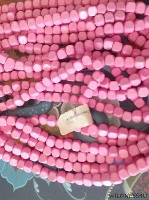 VINTAGE WOOD SQUARE BEADS Fuchsia HOT PINK 5mm LIGHT WEIGHT Beading CZECH lot