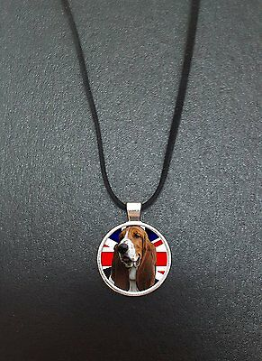 """Basset Hound Union Jack Pendant On a 18"""" Black Cord Necklace Ideal Gift N455"""