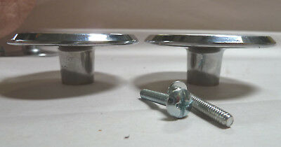 "2 Vintage Mid Century 2-1/2"" Chrome Drawer Knob Cabinet Door Pull Concave"
