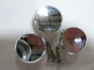 "3 Vintage Mid Century 1 1/2"" Chrome Drawer Knob Cabinet Door Pull Concave"