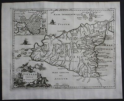 1700 Sicily Sicilia island acquaforte Italia map engraving antique print