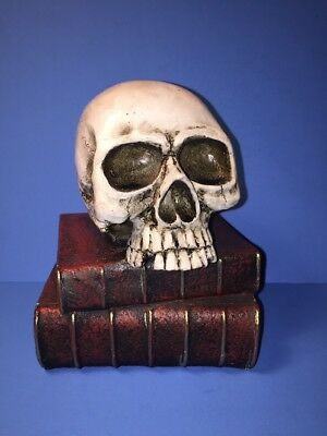 NEW! Halloween Resin Skull On Books Scary By Ashland