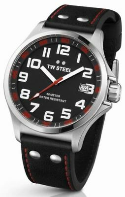 TW Steel Pilot BLACK Dial  Stainless Steel BLACK LEATHER Mens Watch TW410