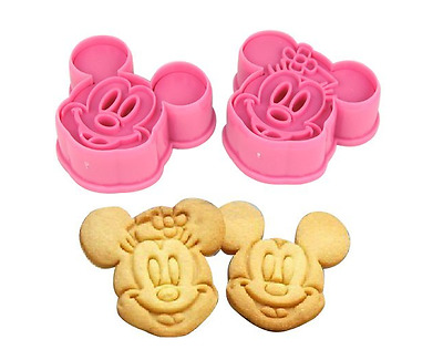 Minnie & Mickey Mouse Cookie Cutter Baking Bake Stencil Mould Set of 2 Cake Make