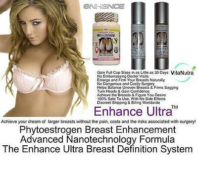 2 Breast Enhancer Enlargement Pills Cream Serum Set For Bust Firming Enhancement