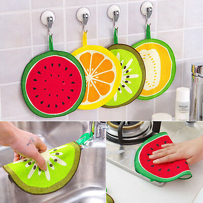 1Pc Lovely Fruit Print Hanging Dish Cloth Wiping Napkin Kitchen Hand Towel Tools