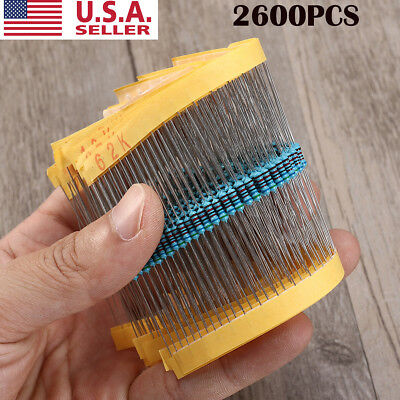 2600pcs 130 Values 1/4W 1% Metal Film Resistance Resistors Assortment Set Kit US