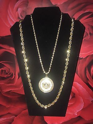 Medusa Head Chain & Gold Rope Iced Out Necklace Bling Shiny Rapper Chain Hip Hop