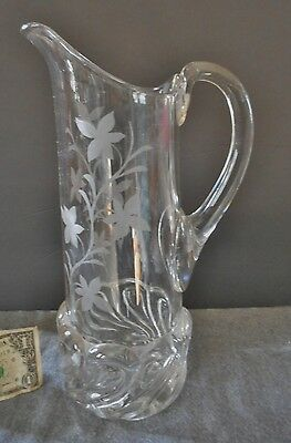 Rare Eapg A.j Beatty Orinoco Pattern Etched With Leaves And Vine Tankard Pitcher