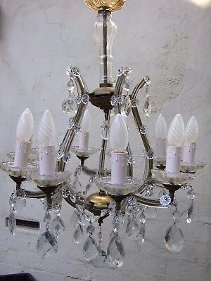 Antique Bohemian Crystal10Arms Chandelier w Diamond Cut Crystal Drops C1930's