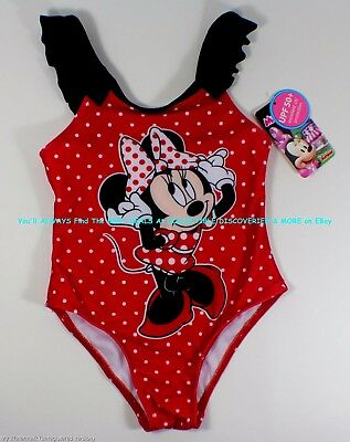 MINNIE MOUSE Girls Toddler One-Piece Bathing Suit SWIMSUIT > 4T < Ships Today!