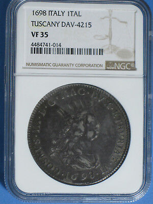 1698 Tuscany Italy 1 Tollero Silver NGC VF 35 Crowned Head