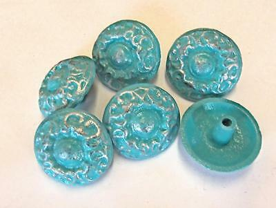 LOT of 6 Knobs Drawer Pulls Cottage Chic Cast Iron Turquoise Silver 1-3/4""