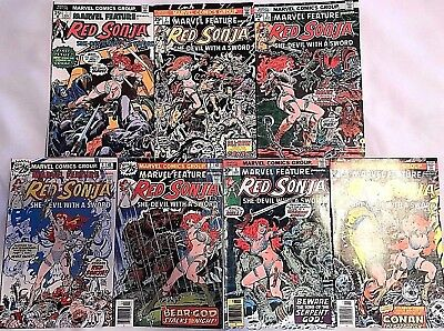 Marvel Feature#1-7 Vf-Nm Lot 1975 Red Sonja Marvel Bronze Age Comics