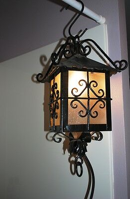 Vintage Wrought Iron Black Metal Outdoor Porch Light Fixture Mission Scroll