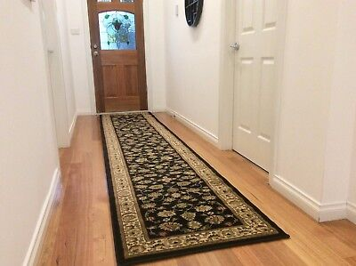 Hallway Runner Hall Runner Rug Modern Black 3 Metres Long FREE DELIVERY