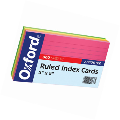 "Oxford Ruled Index Cards, 3"" x 5"", Assorted Glow Colors, 300/Pack (81300EE)"
