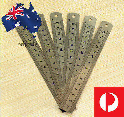 15cm/6inch Stainless Steel Pocket Measuring Ruler Scale Rule Double Sided Metric