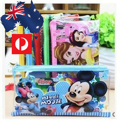 Transparent Cartoon Pencil case pen bag Kids Mickey Mouse Frozen Princes Disney
