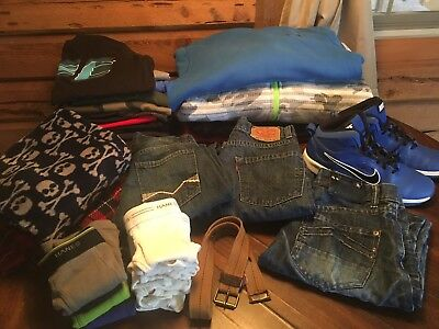 HUGE Boy LOT 35 Pc 10/12 Nike Levi Underarmour Hoodie Shoes 7C Sweatshirts Jeans