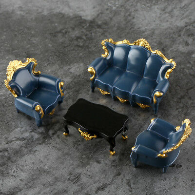 4pcs Dark Teal Dollhouse Miniatures Table Sofas 1:25 Living Room Layout Model
