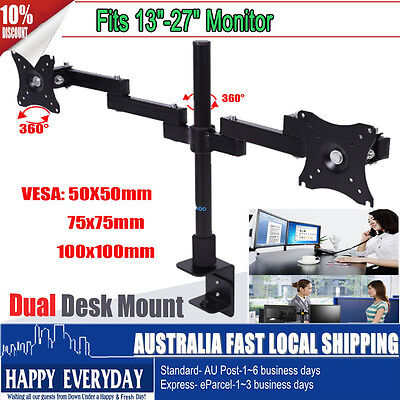 "13-27"" Dual HD LED Desk Monitor Stand Mount Bracket 2 Arms Holder LCD Screen TV"