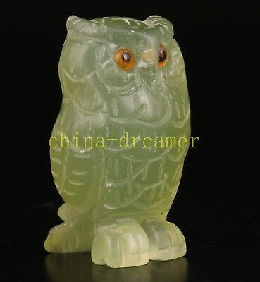 Jade Animal Owl Statue Figurines Sculpture Gifts Decoration Collectable