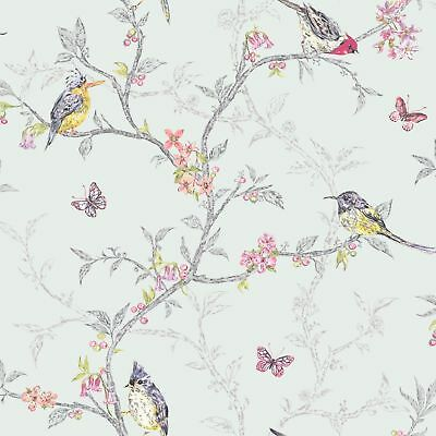 Soft Teal Floral Butterfly Wallpaper Colourful Birds Trees Holden Decor