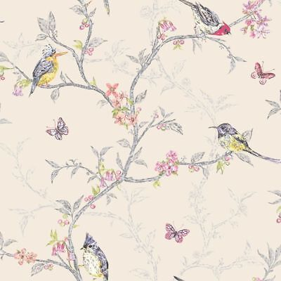 Beige Floral Butterfly Wallpaper Colourful Multi Color Birds Trees Holden Decor