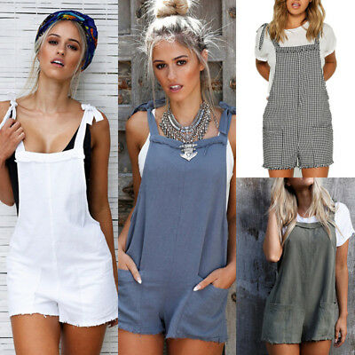 Hot Women Straps Jumpsuits Overalls Jeans Shorts Pants Romper Trousers Playsuits