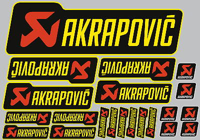 Akrapovic black/yellow decals 21 quality printed & laminated motorcycle stickers