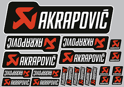 Akrapovic white/black decals 21 quality printed & laminated motorcycle stickers