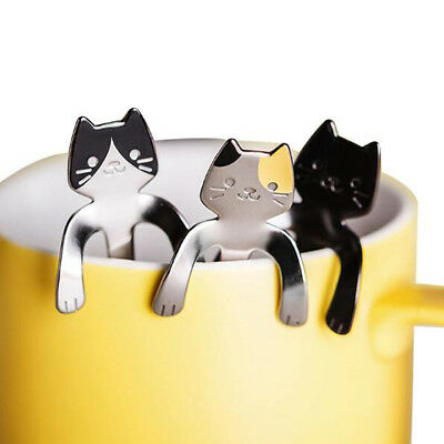 Soup Ice Cream Stainless Spoons Coffee Steel Cute 1 Pcs Cocktail Cat Teaspoons