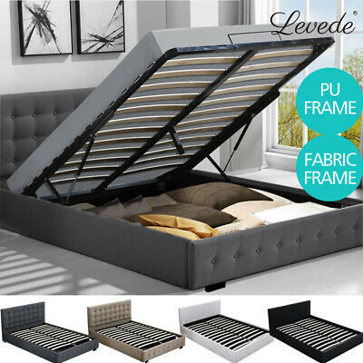 Levede GAS LIFT STORAGE KING SINGLE DOUBLE QUEEN K SIZE FABRIC/LEATHER BED FRAME