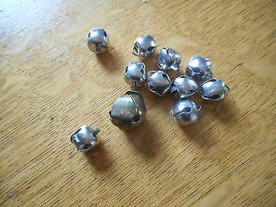 10 VINTAGE SMALL ROUND METAL CHRISTMAS SLEIGH BELLS 1/2 INCH + 1 3/4 inch