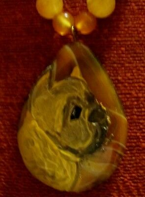Brussels Griffon, smooth, hand painted on teardrop Agate pendant/bead/necklace