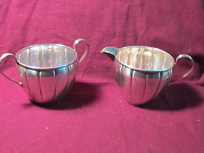 "Sterling National silver Co.SUGAR BOWL & CREAMER  109gr 2 1/2"" x 5"""